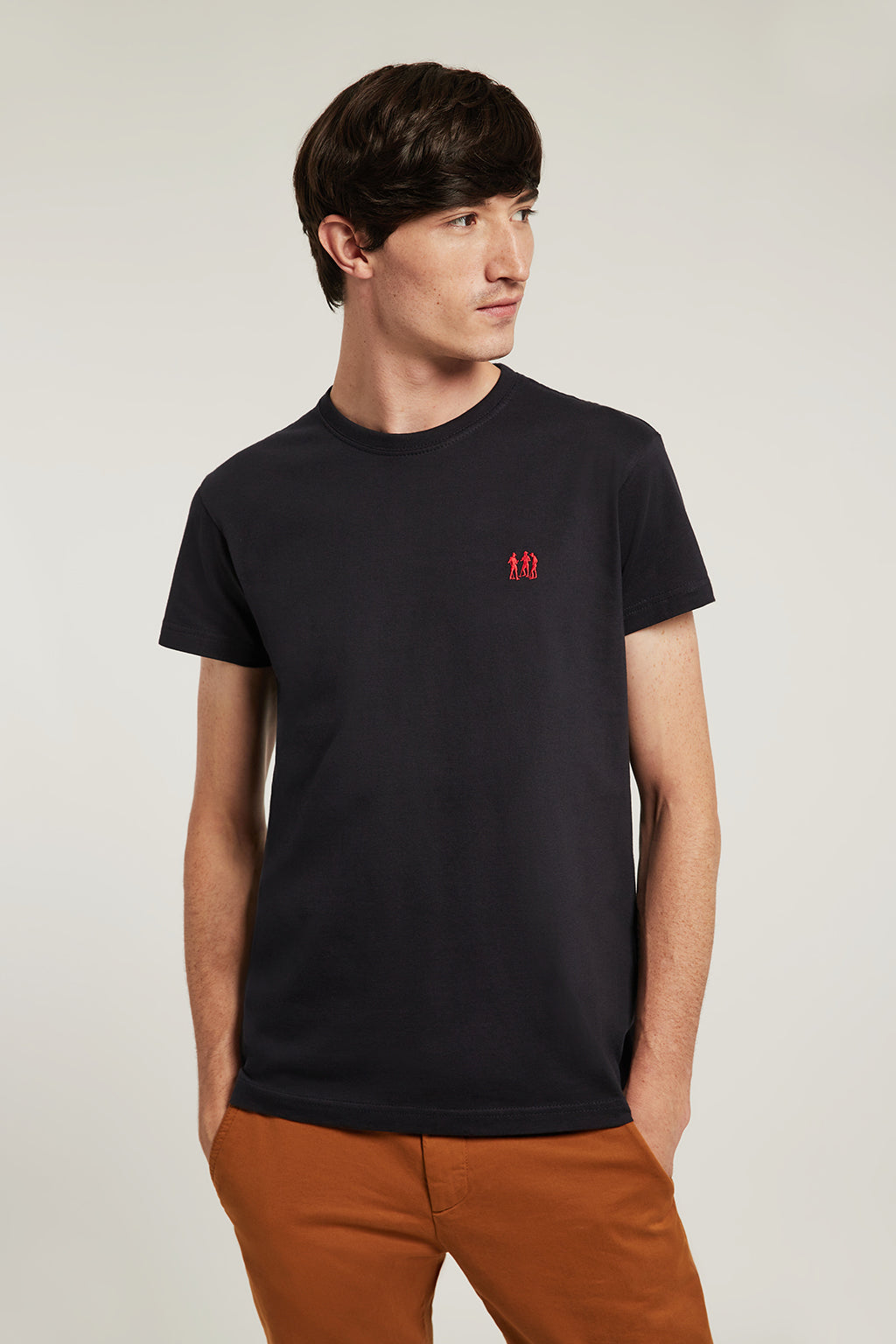Blue tee with embroidered logo and ribbed neck