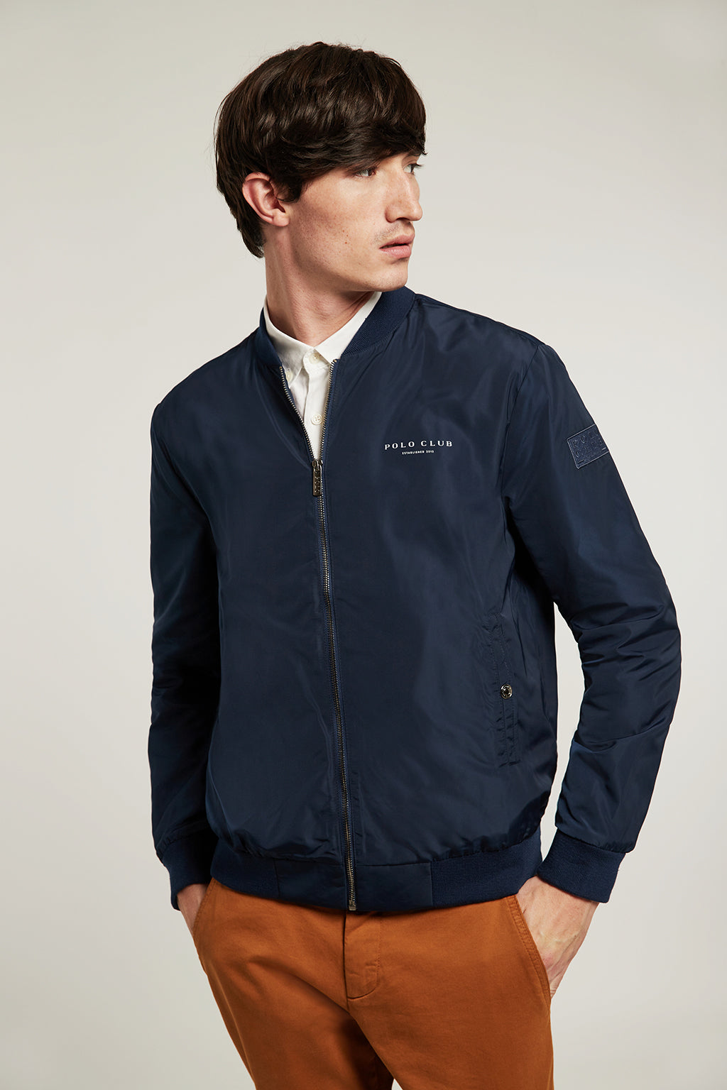 Waterproof navy blue bomber jacket