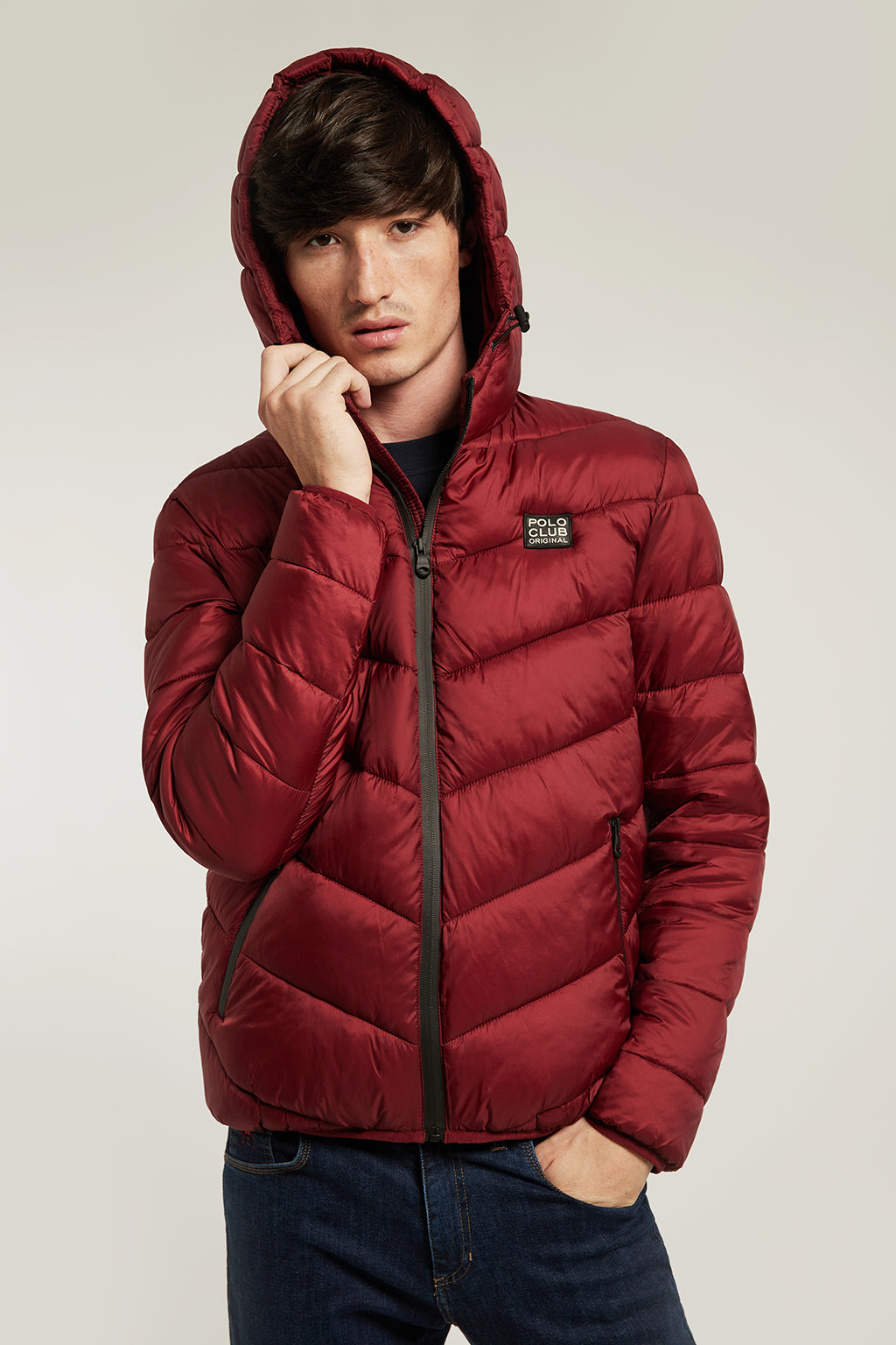 Burgundy quilted jacket with heat-sealed zip