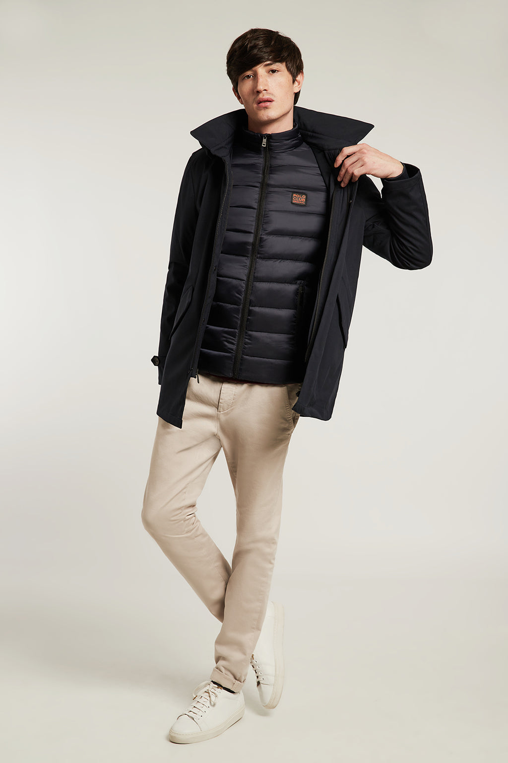 Navy blue parka and jacket