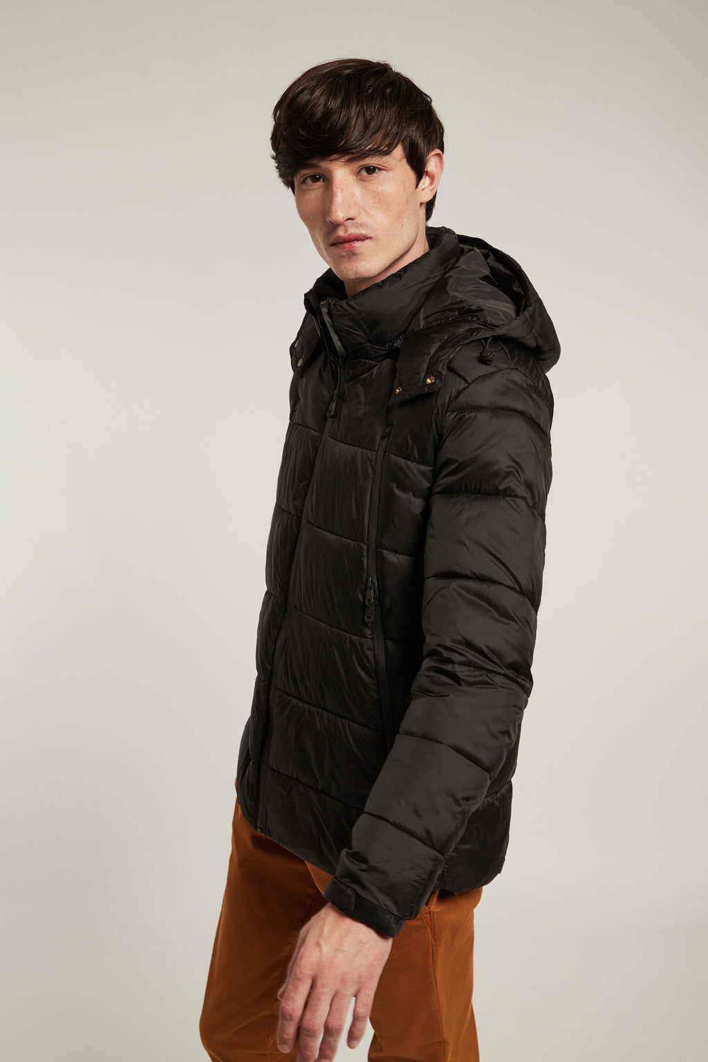 Black quilted short coat with hood