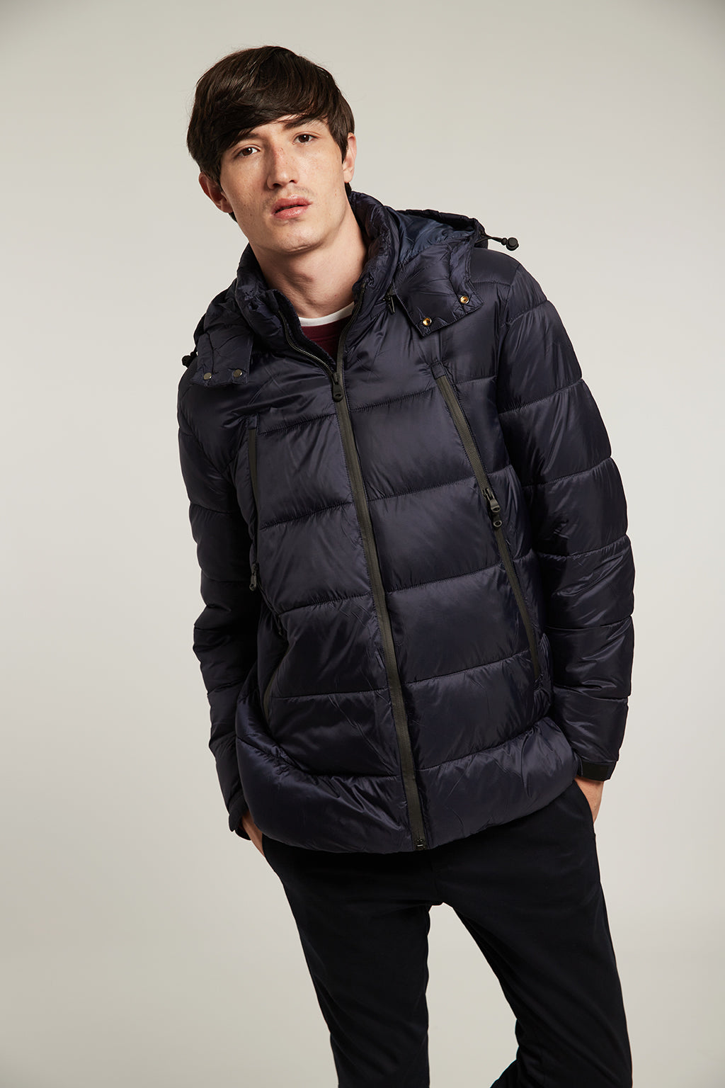Navy blue quilted short coat with hood