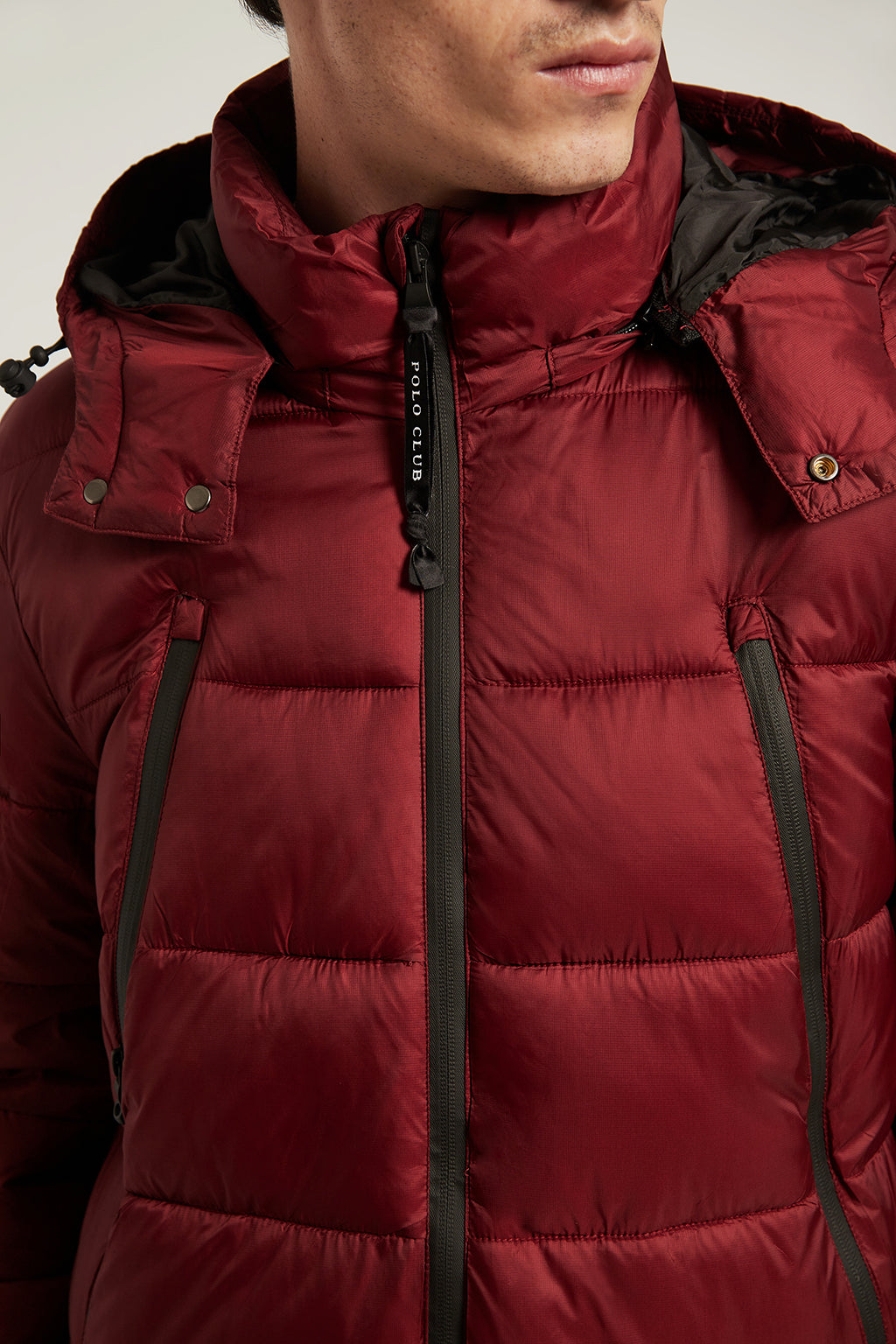 Burgundy quilted short coat with hood