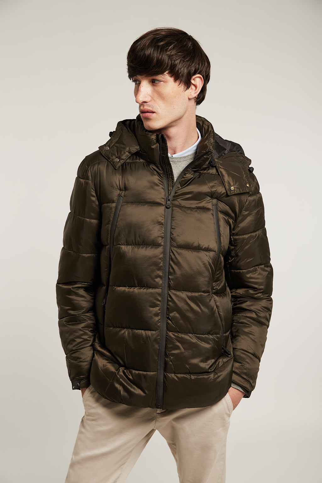 Khaki quilted short coat with hood