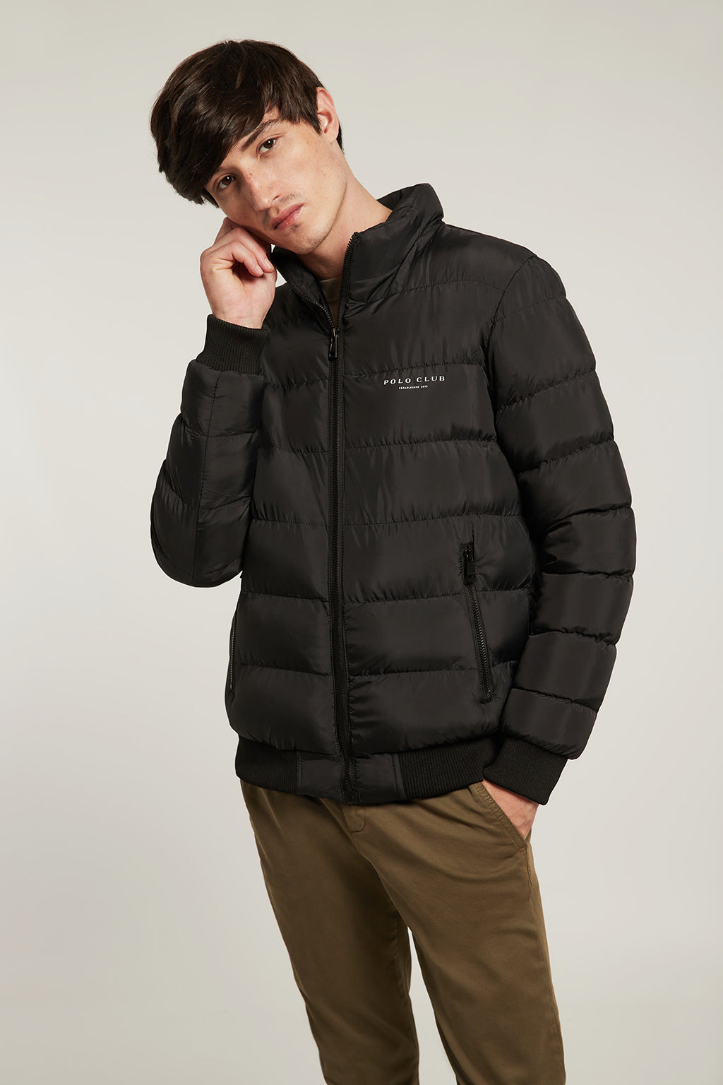 Black quilted jacket with plush hood