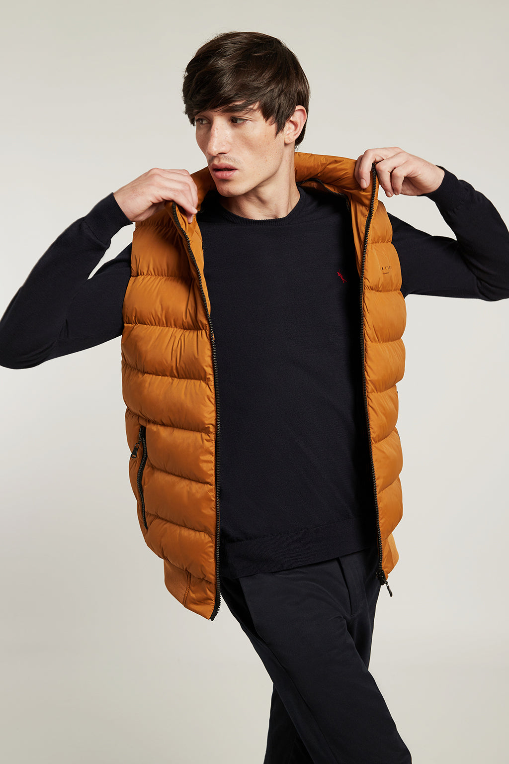 Mustard quilted vest in quilted fabric