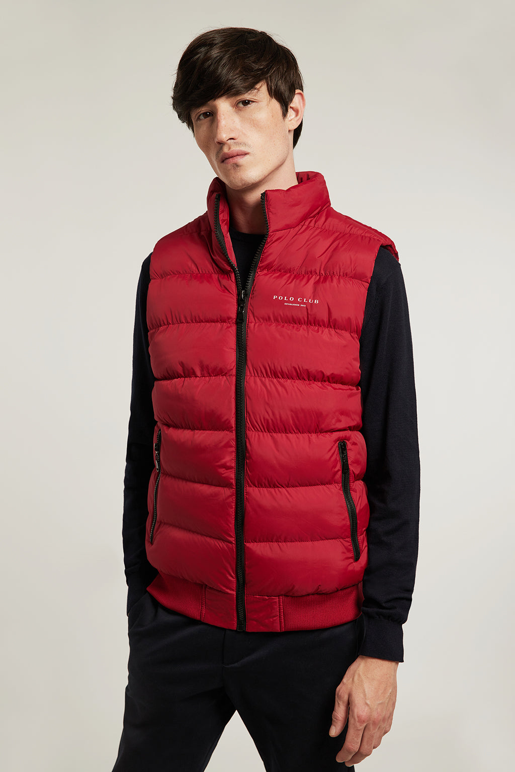Red quilted vest in quilted fabric