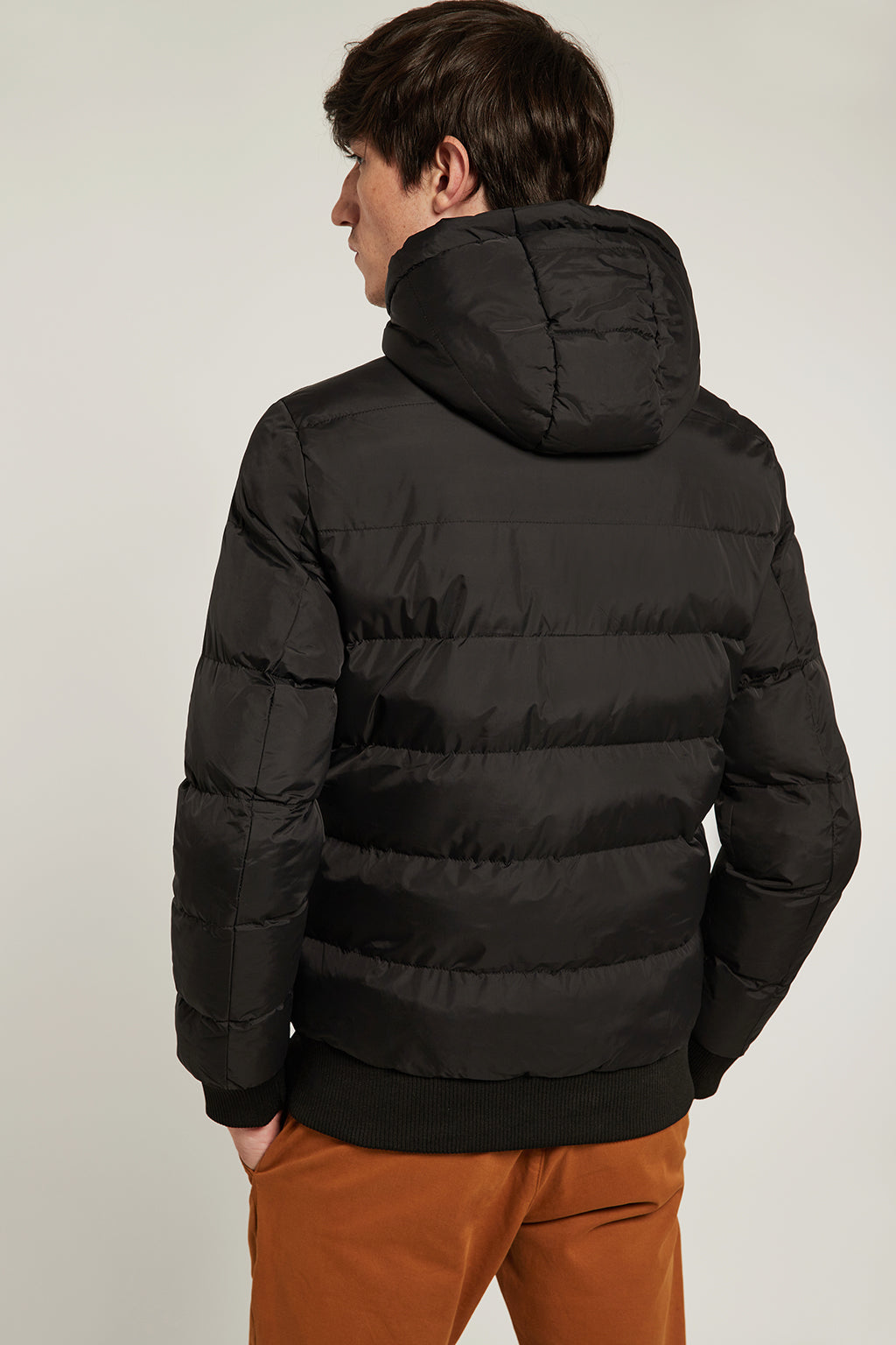 Black quilted jacket with colour stripes
