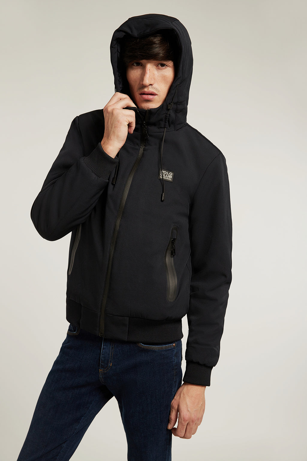 Blue jacket with hood and heat-sealed zip