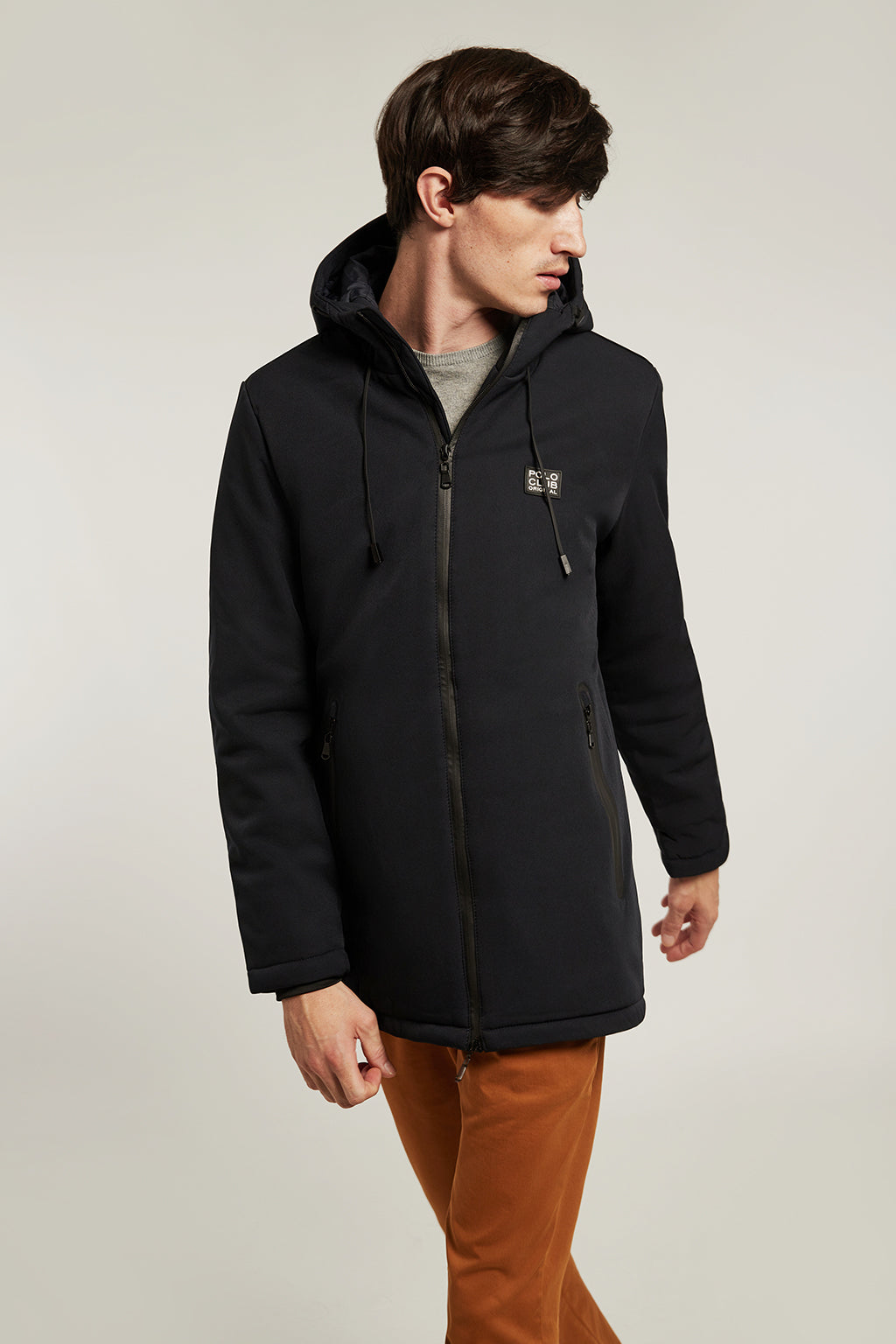 Navy blue technical parka with patch