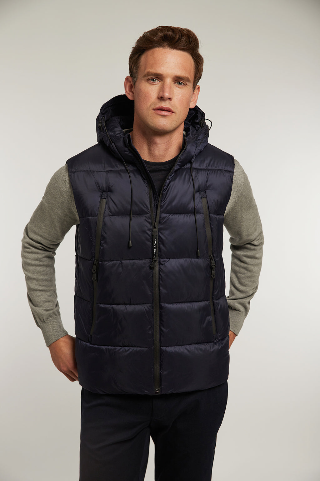 Navy blue quilted vest with hood and big pockets