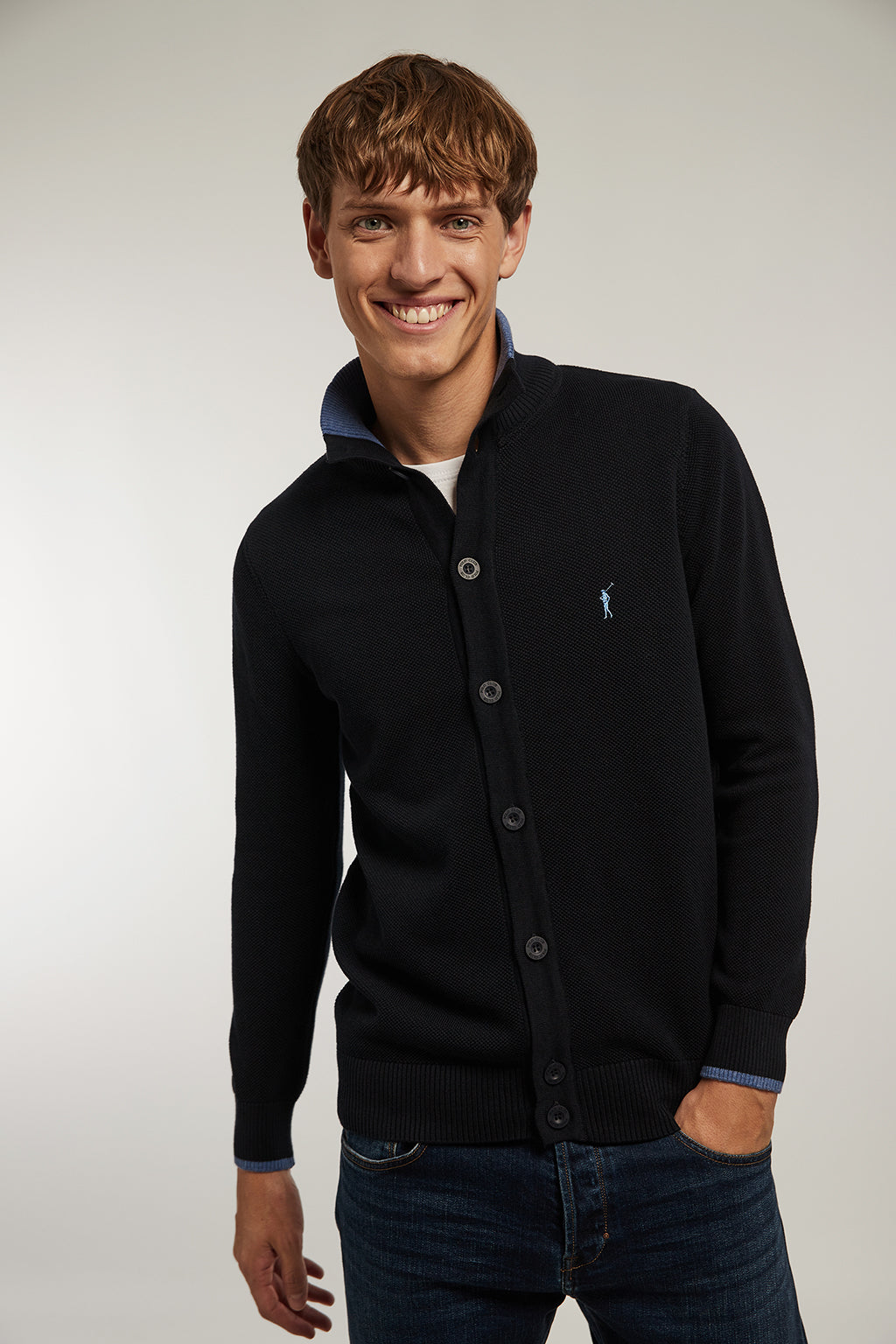 Navy blue cardigan with structure and high collar