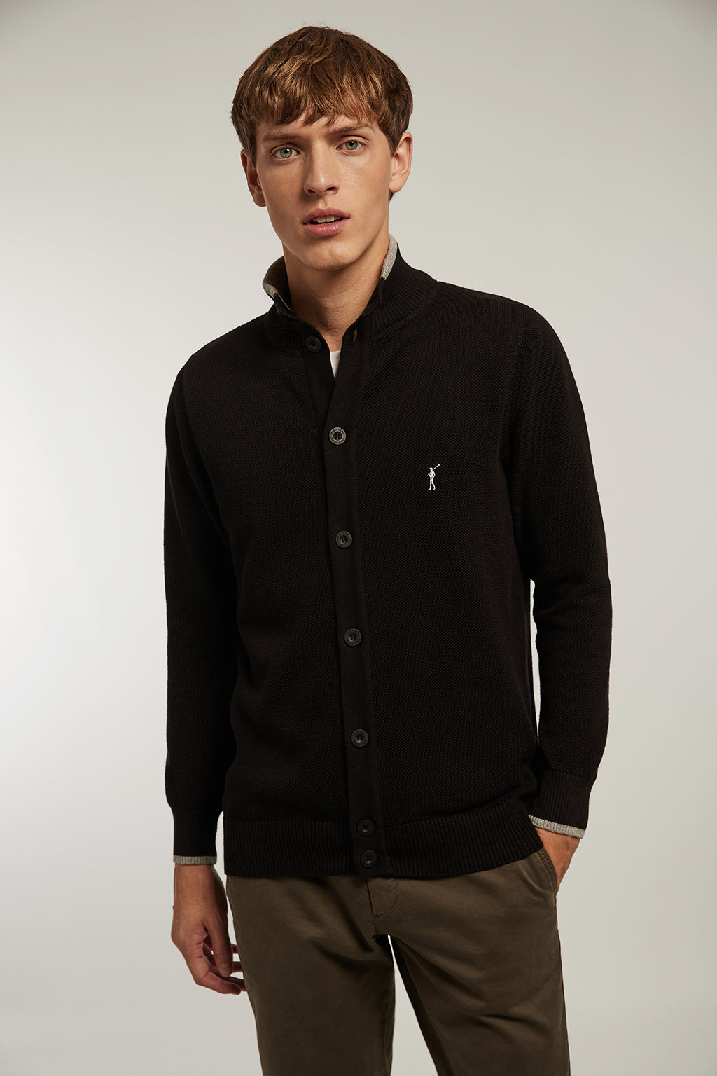 Black cardigan with structure and high collar