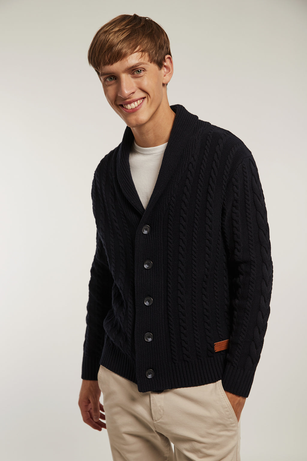 Navy blue cardigan with lapel collar