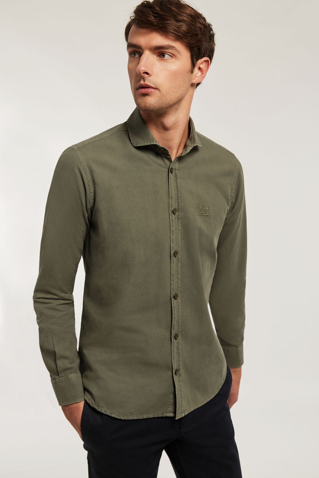 Khaki washed shirt with matching colour embroidery