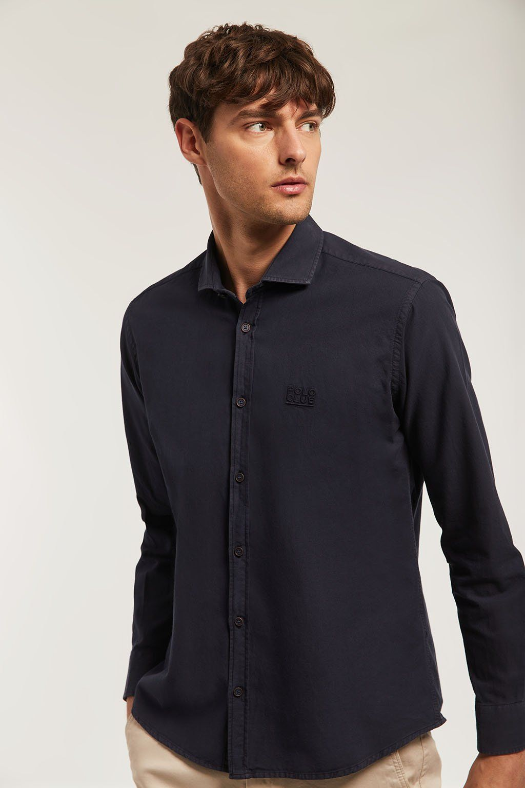 Navy blue washed shirt with matching colour embroidery