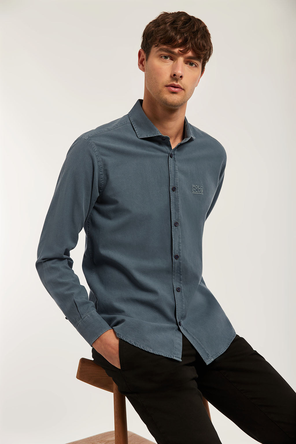 Petroleum blue washed shirt with matching colour embroidery