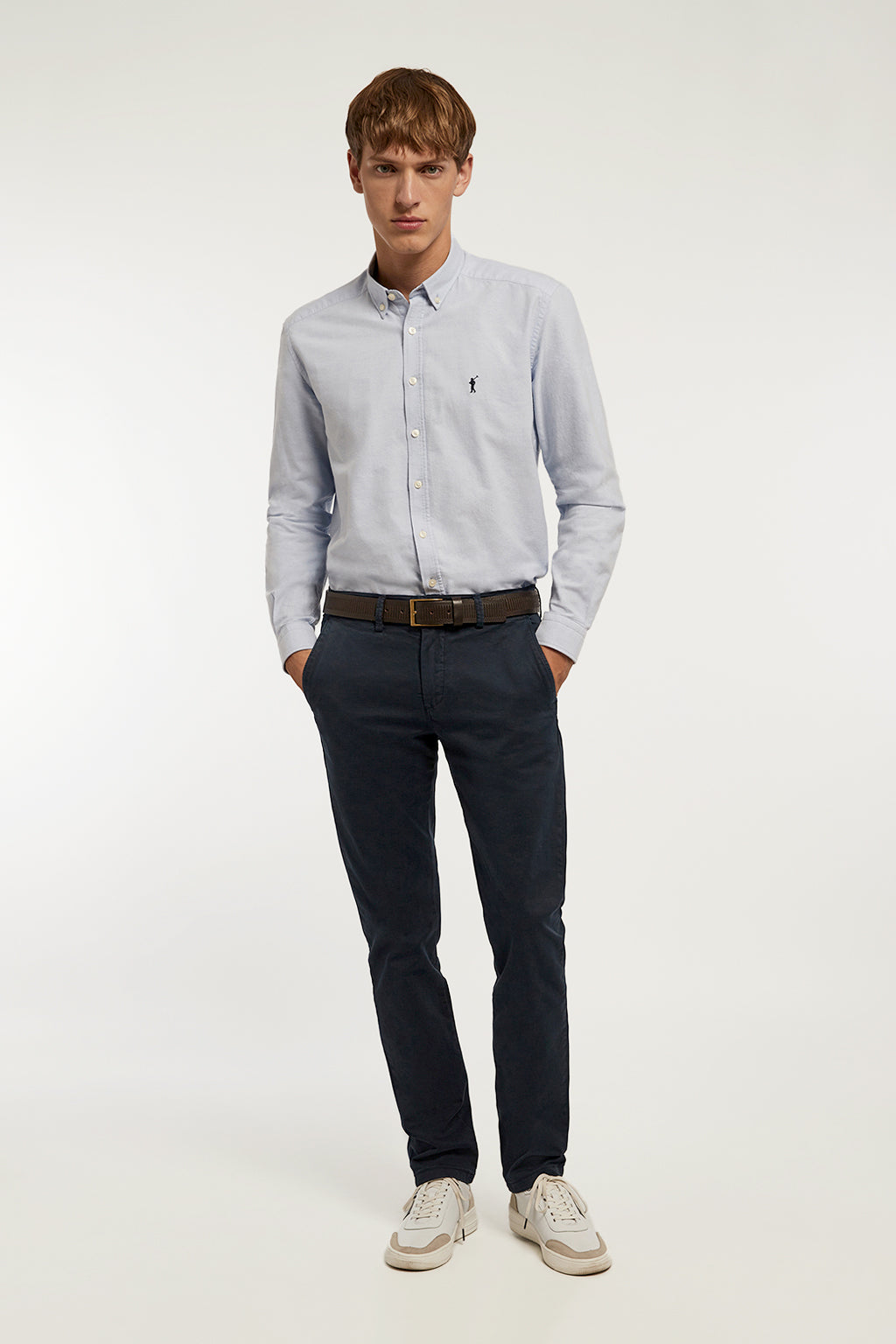 Navy blue custom fit chinos