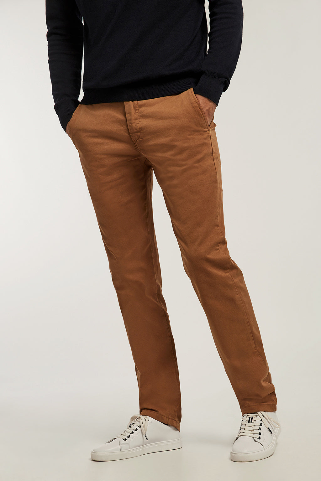 Camel custom fit chinos