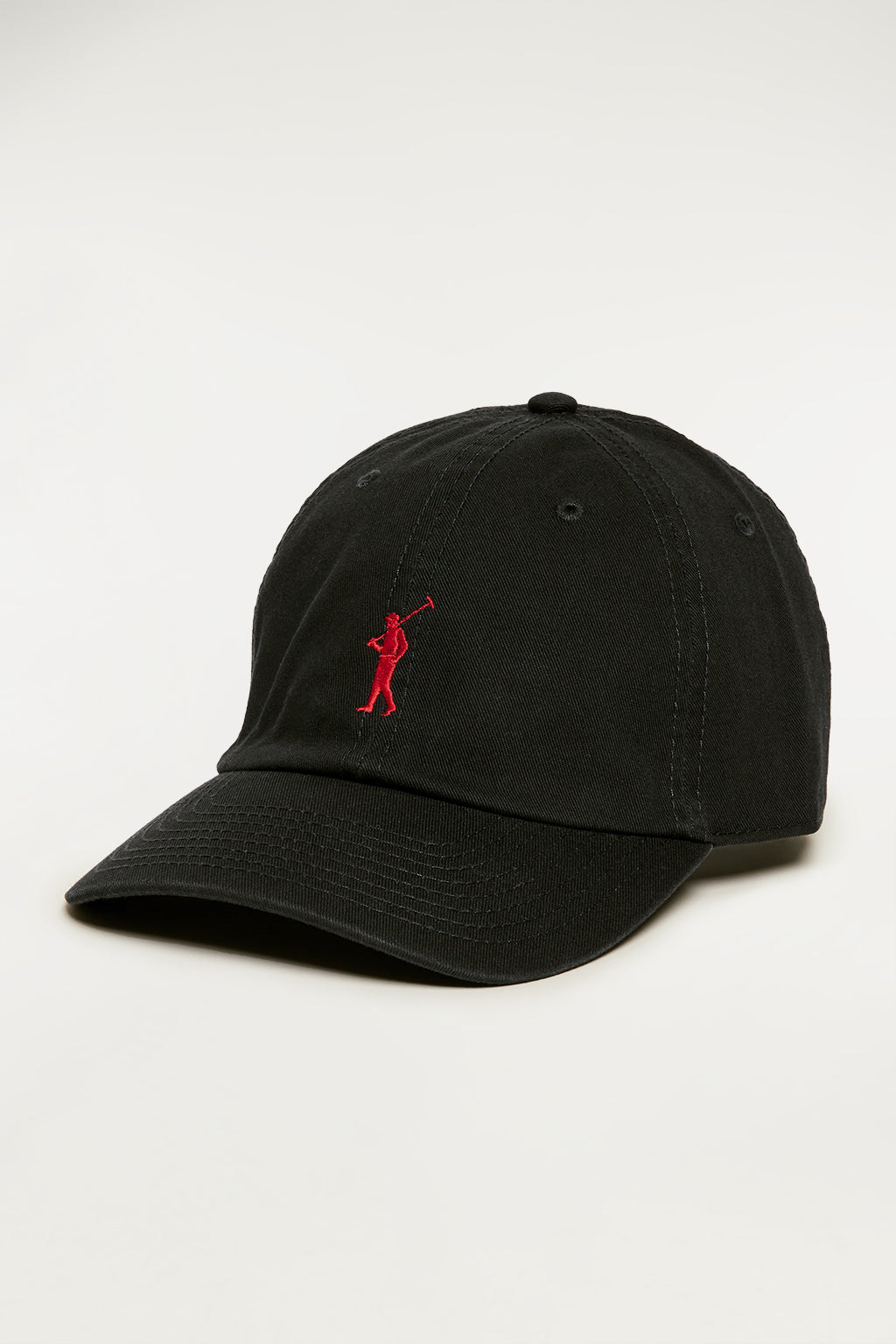 Black cap with contrast embroidered logo