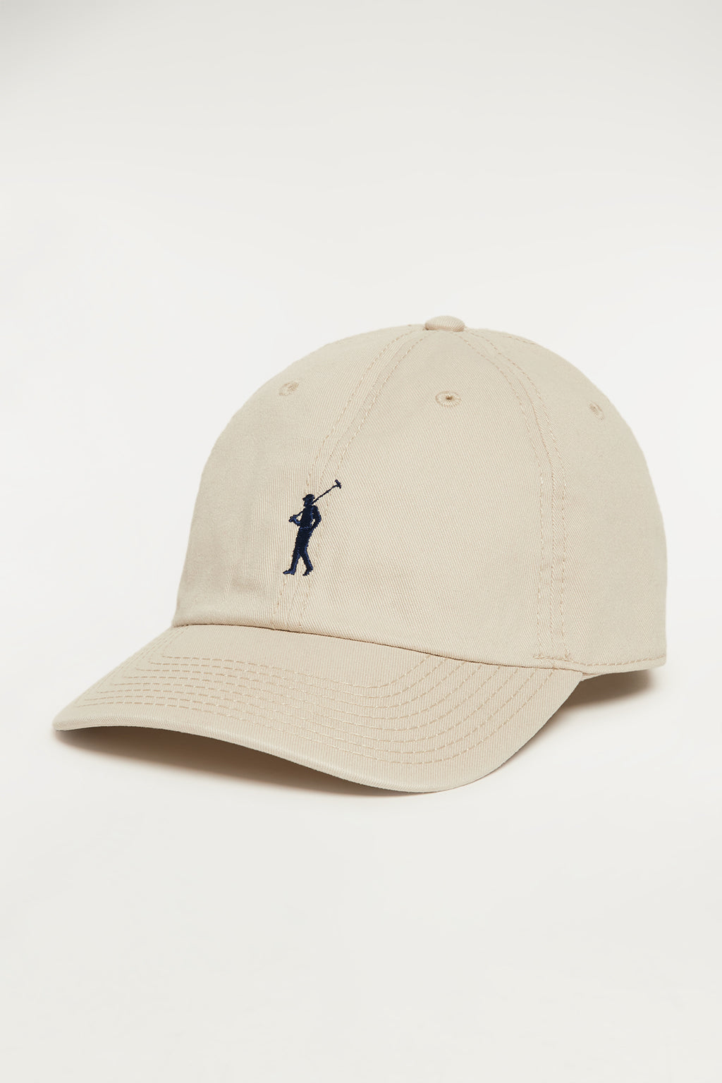 Beige cap with contrast embroidered logo