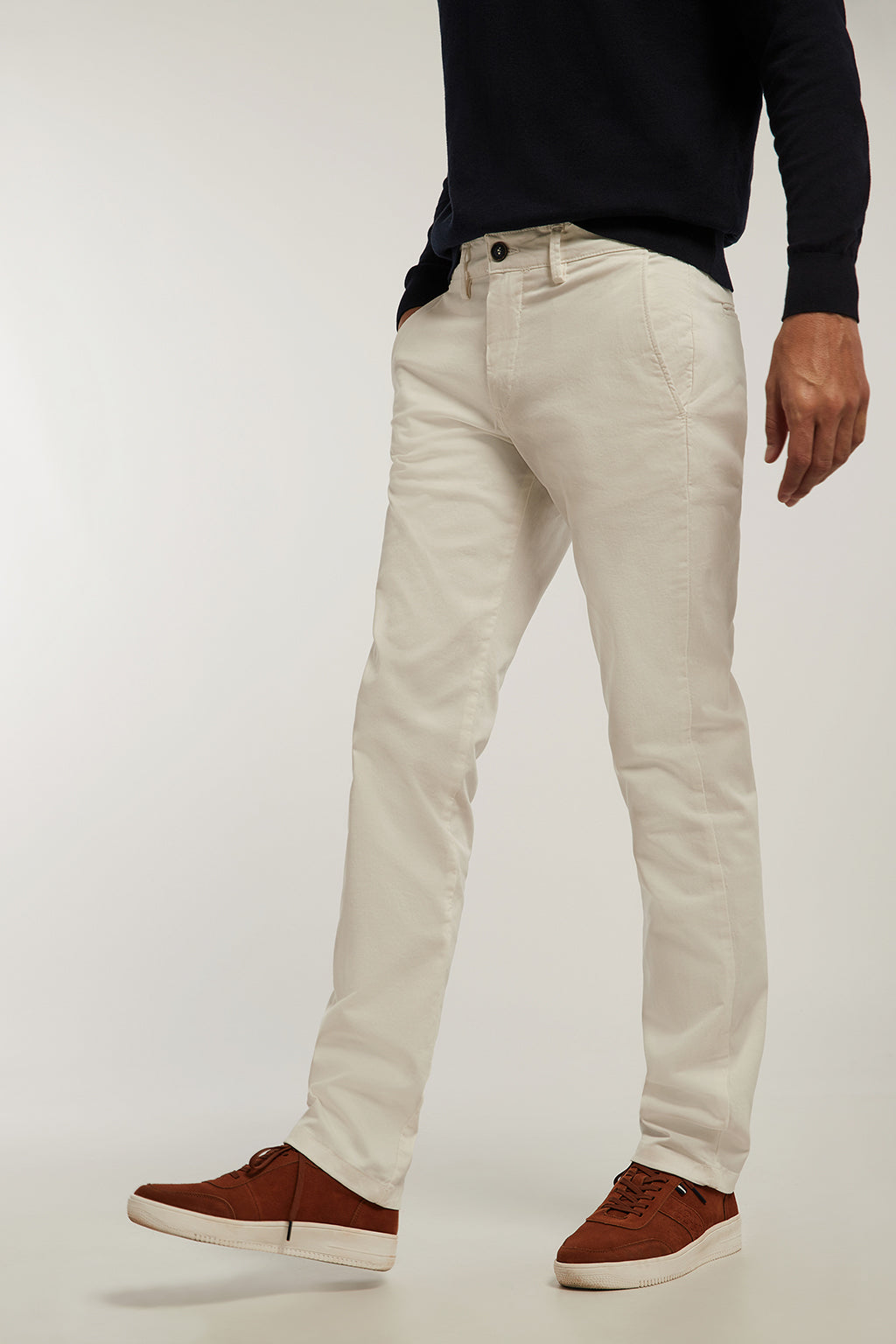 Ecru custom fit chinos
