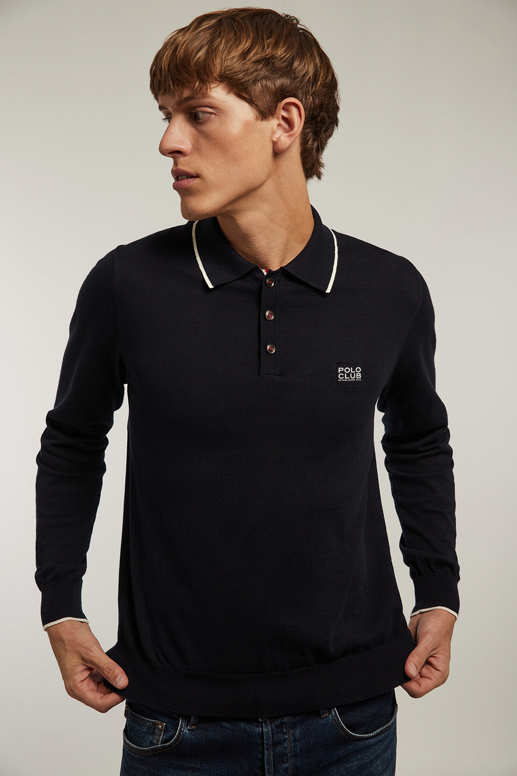Navy blue polo jumper with detail in contrasting colour