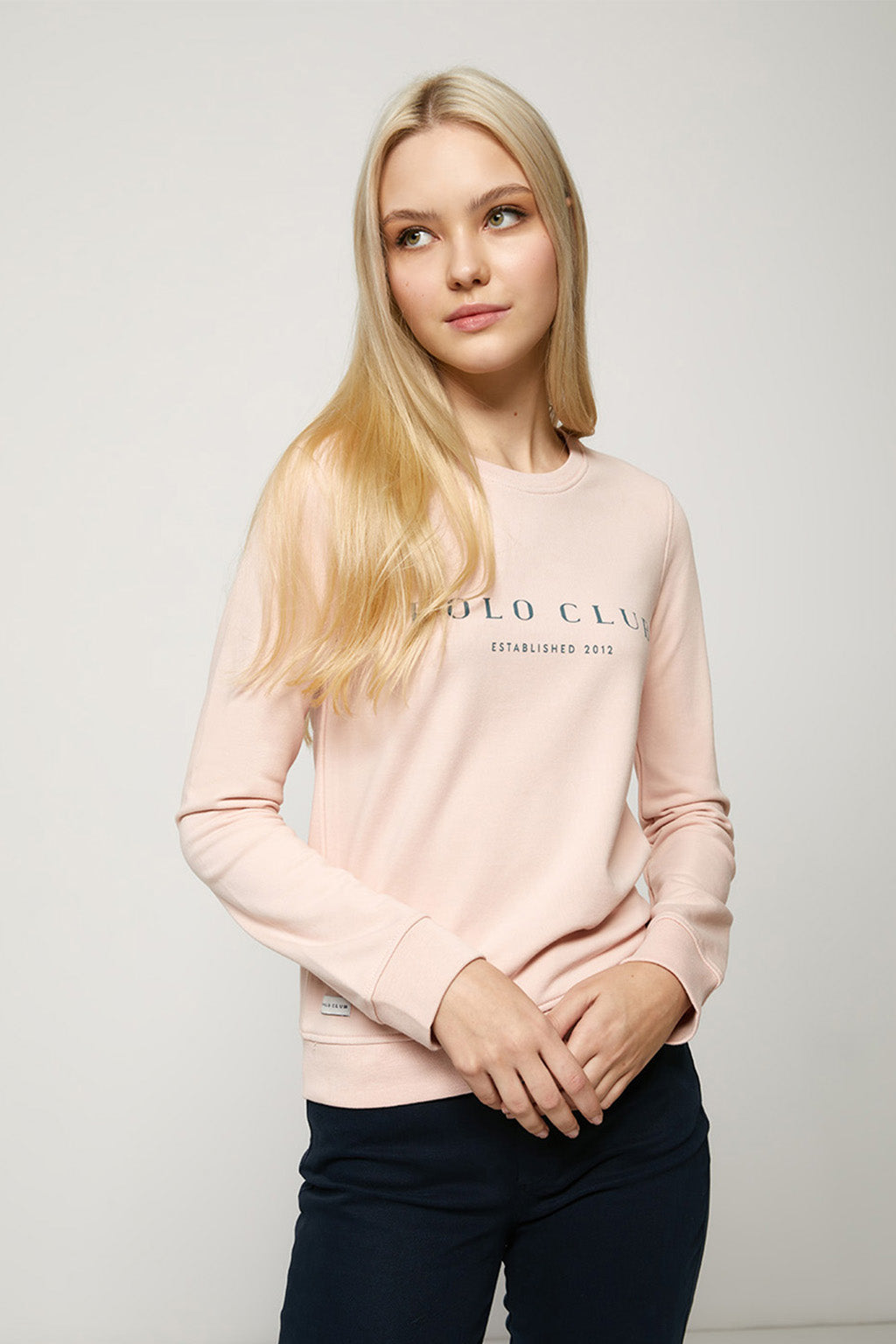 Pink organic sweatshirt with front print