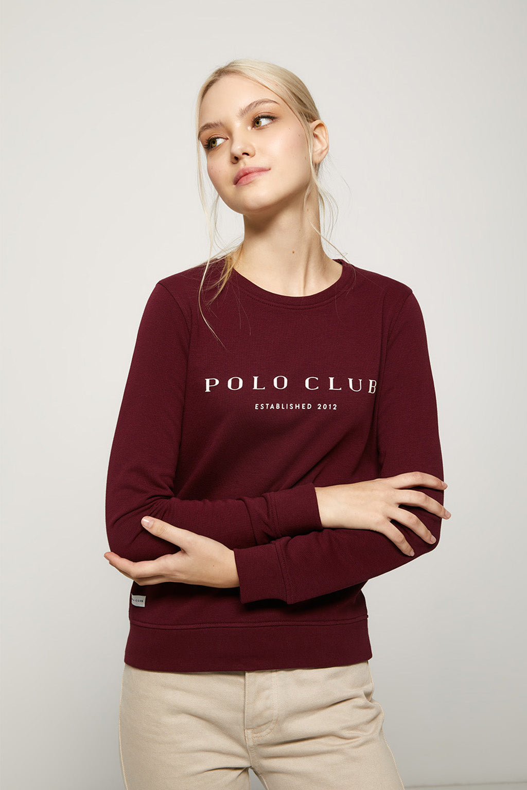 Burgundy organic sweatshirt with front print