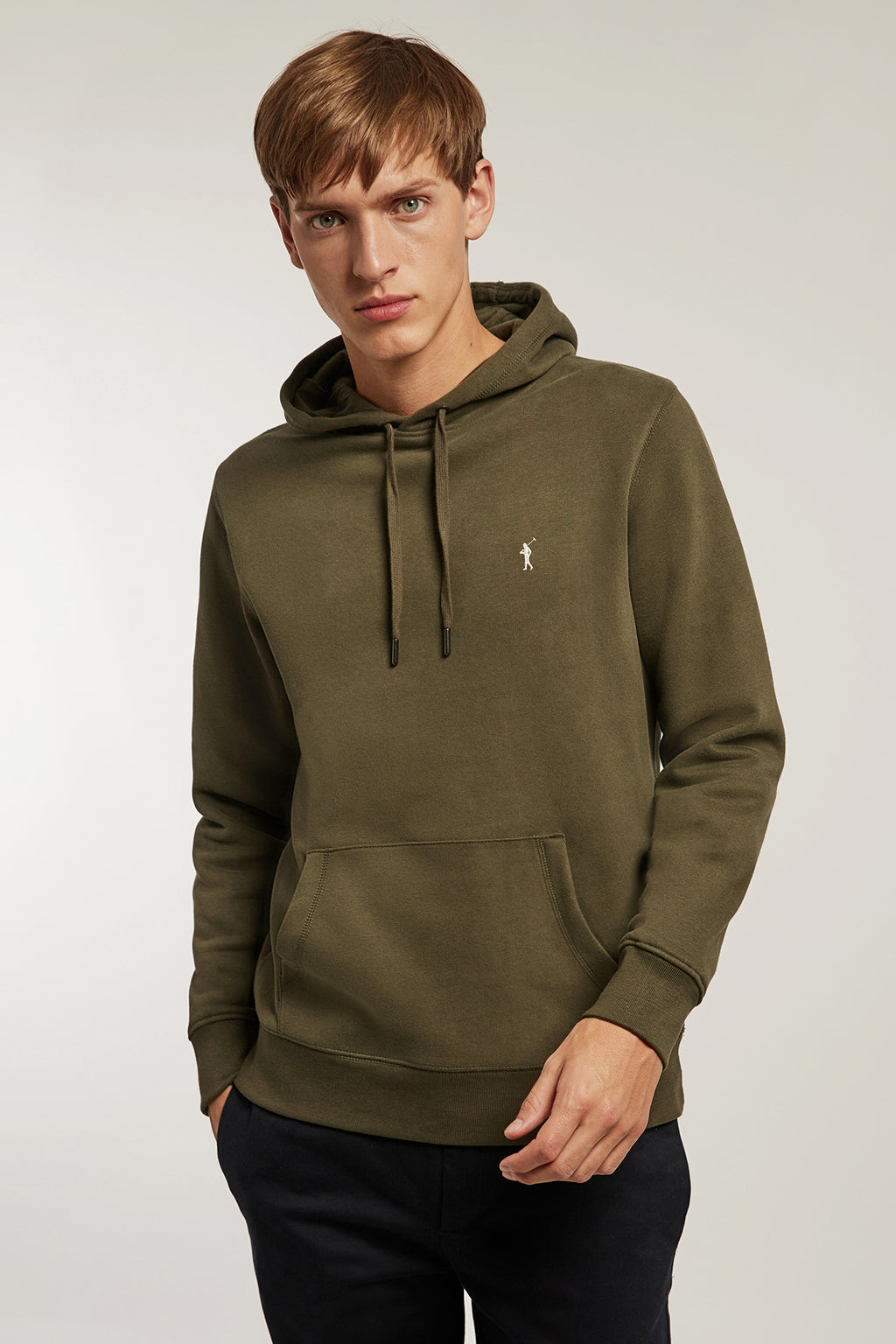Washed khaki hooded sweatshirt with kangaroo pocket