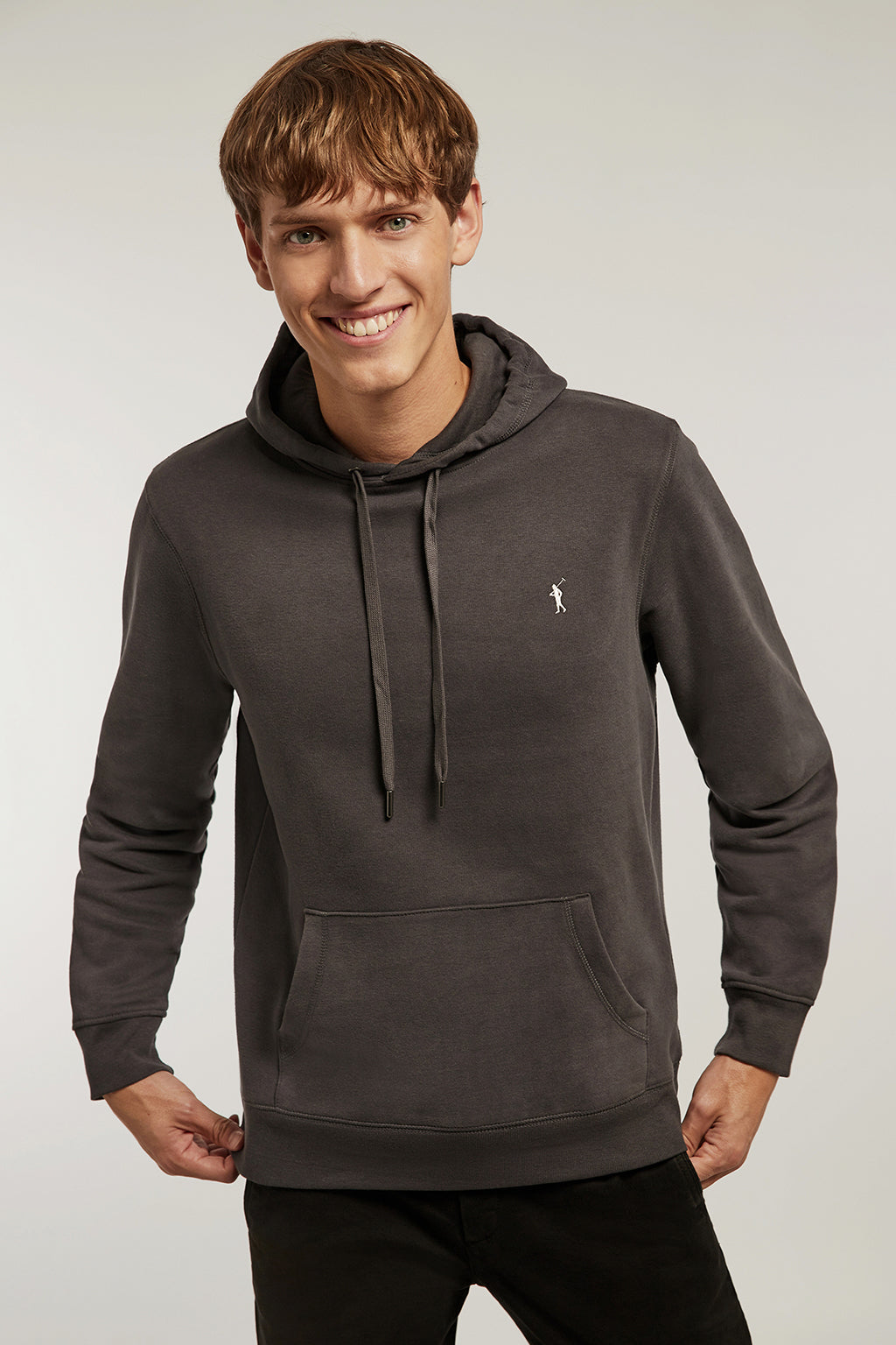 Washed grey hooded sweatshirt with kangaroo pocket