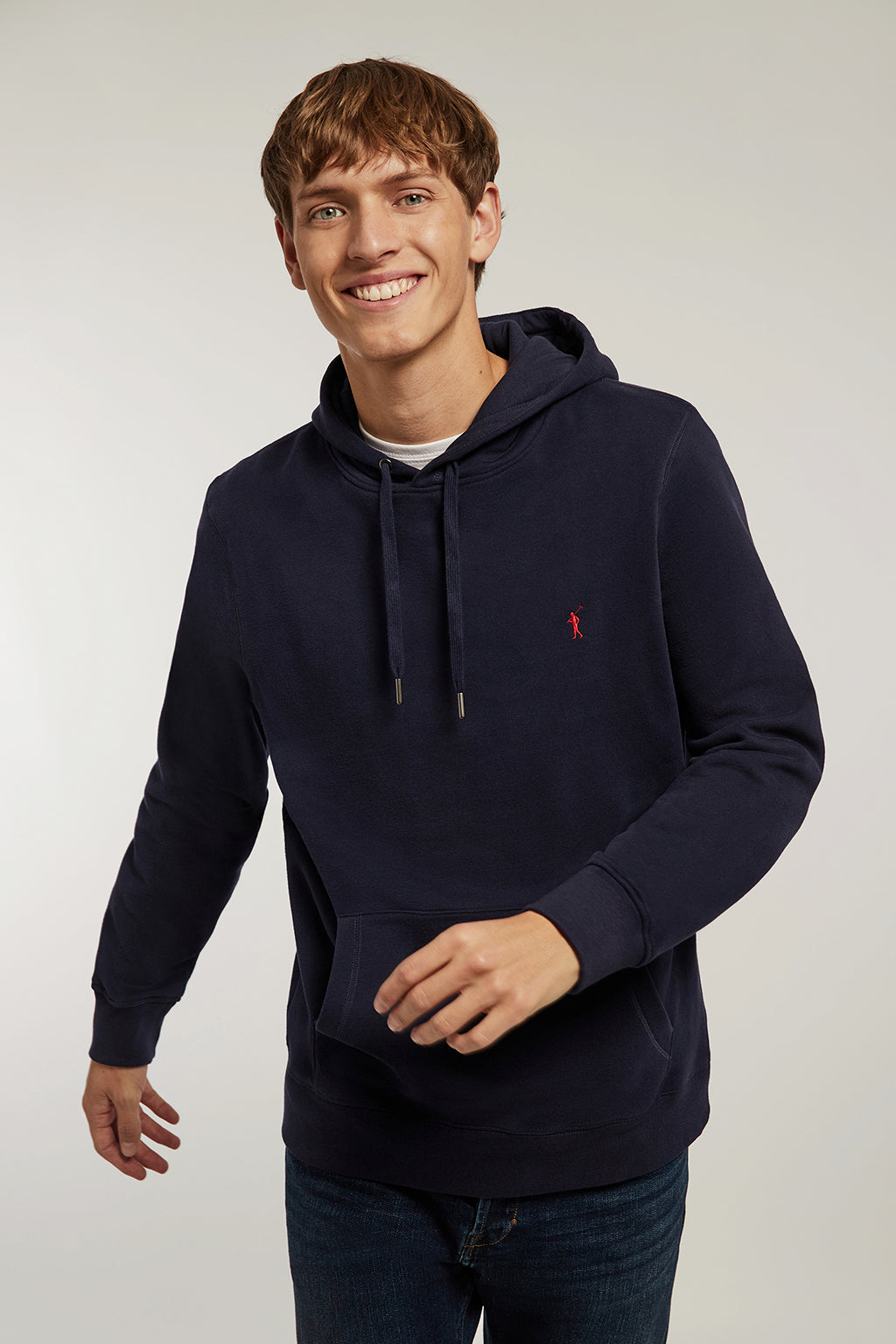 Washed blue hooded sweatshirt with kangaroo pocket
