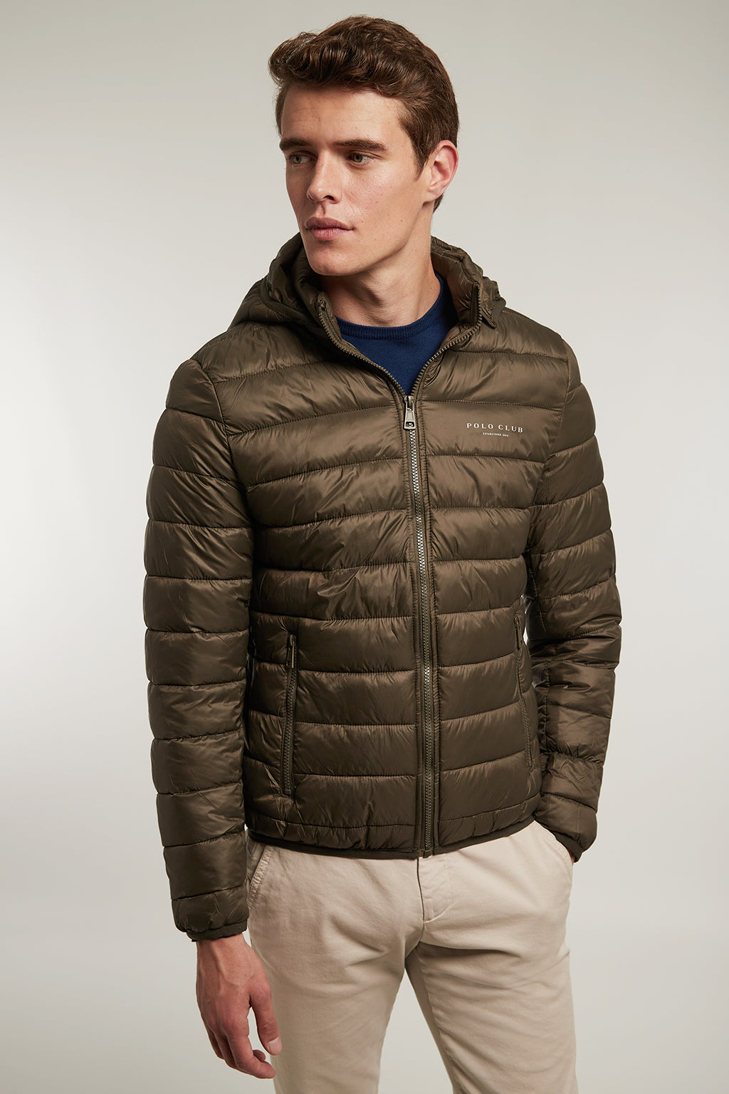 Khaki quilted jacket with detachable hood