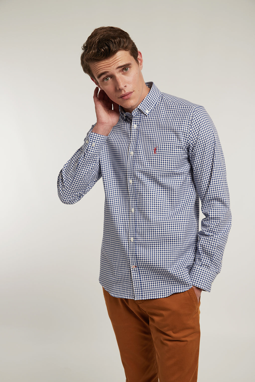 Navy blue custom fit checked shirt with white background