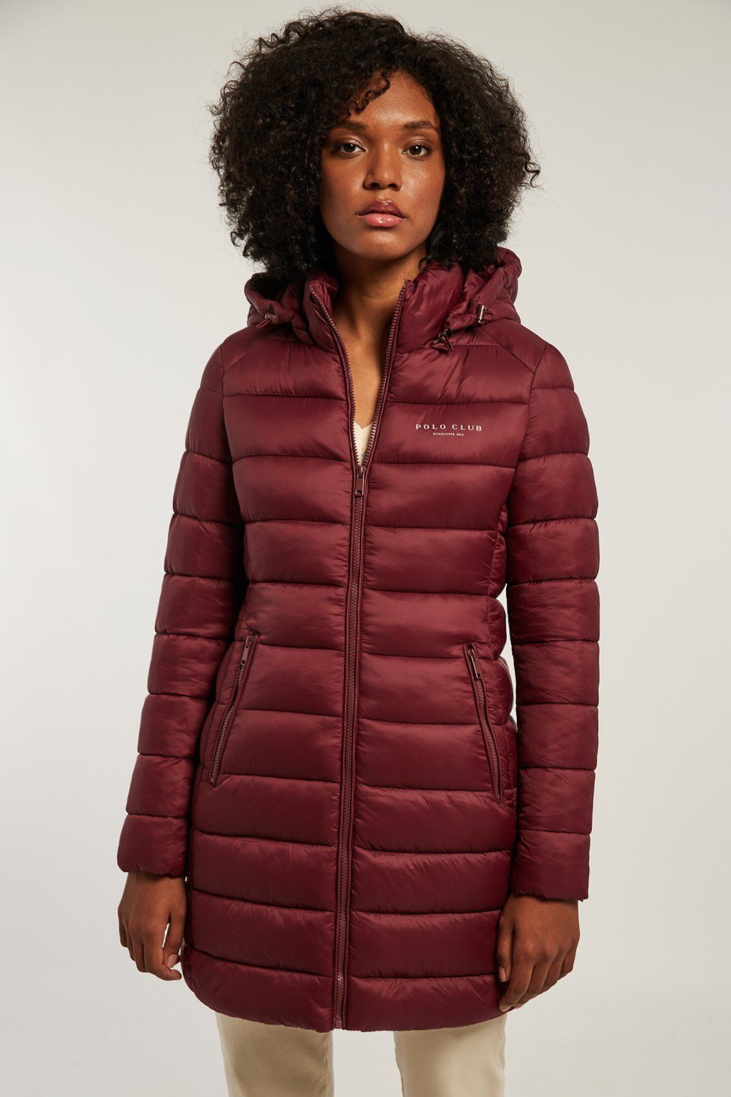 Burgundy quilted and fitted coat with hood