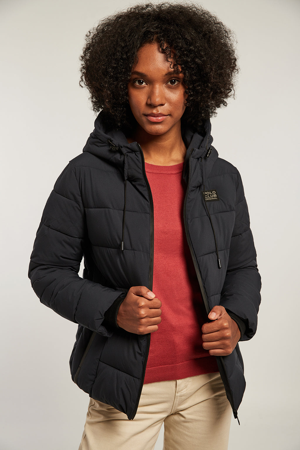 Navy blue hooded quilted jacket with double cuff
