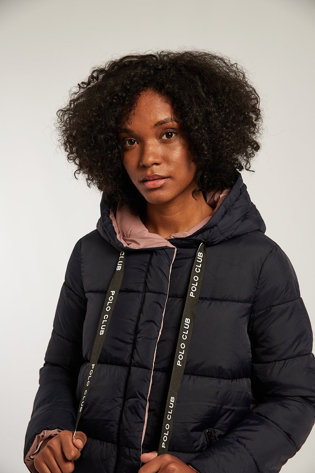 Navy blue reversible and quilted coat with hood