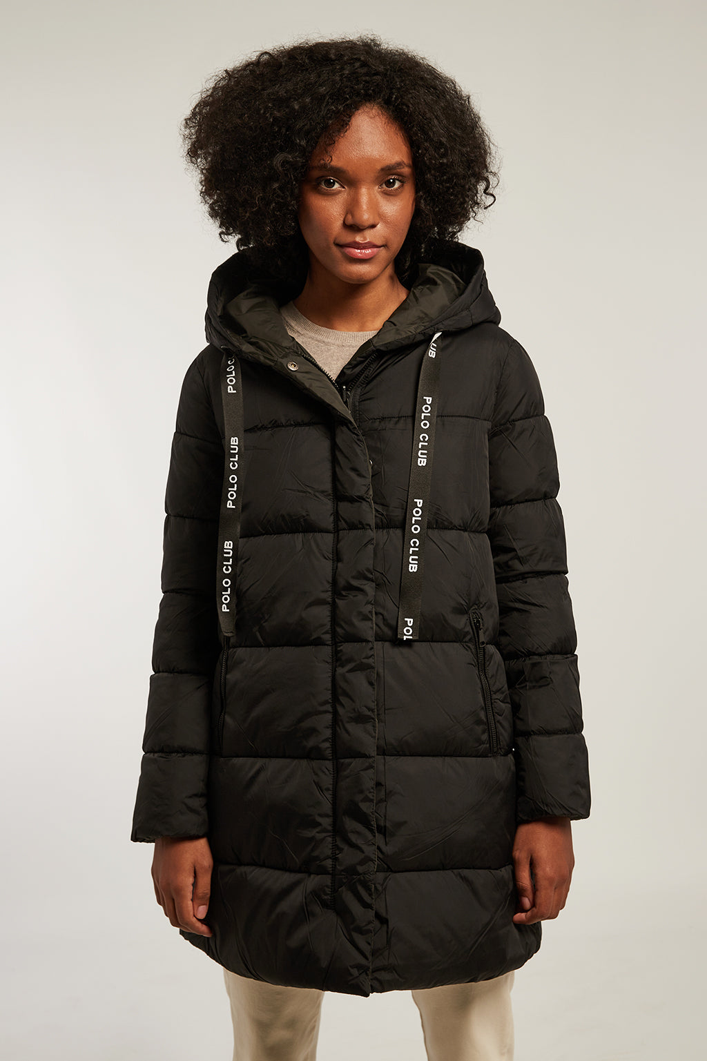 Black reversible quilted coat with hood