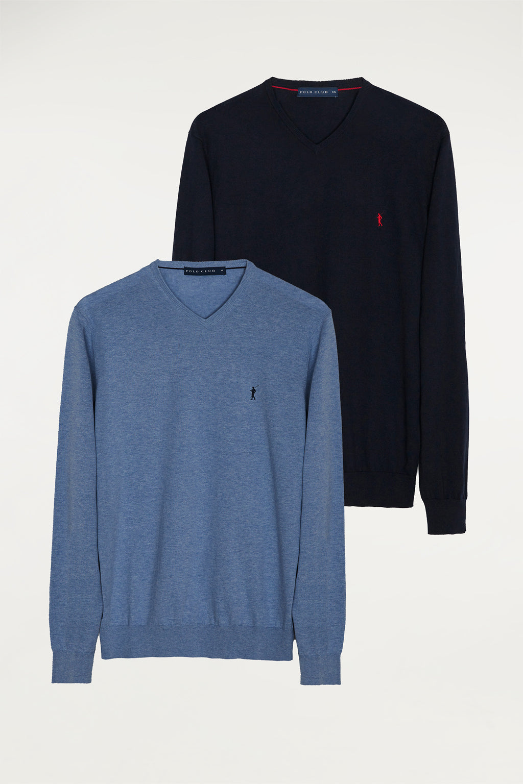 Two-pack jumpers with V-neck and contrast embroidered logo