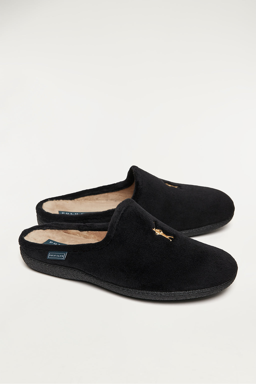 Black sleepers with front embroidered logo in contrast colour