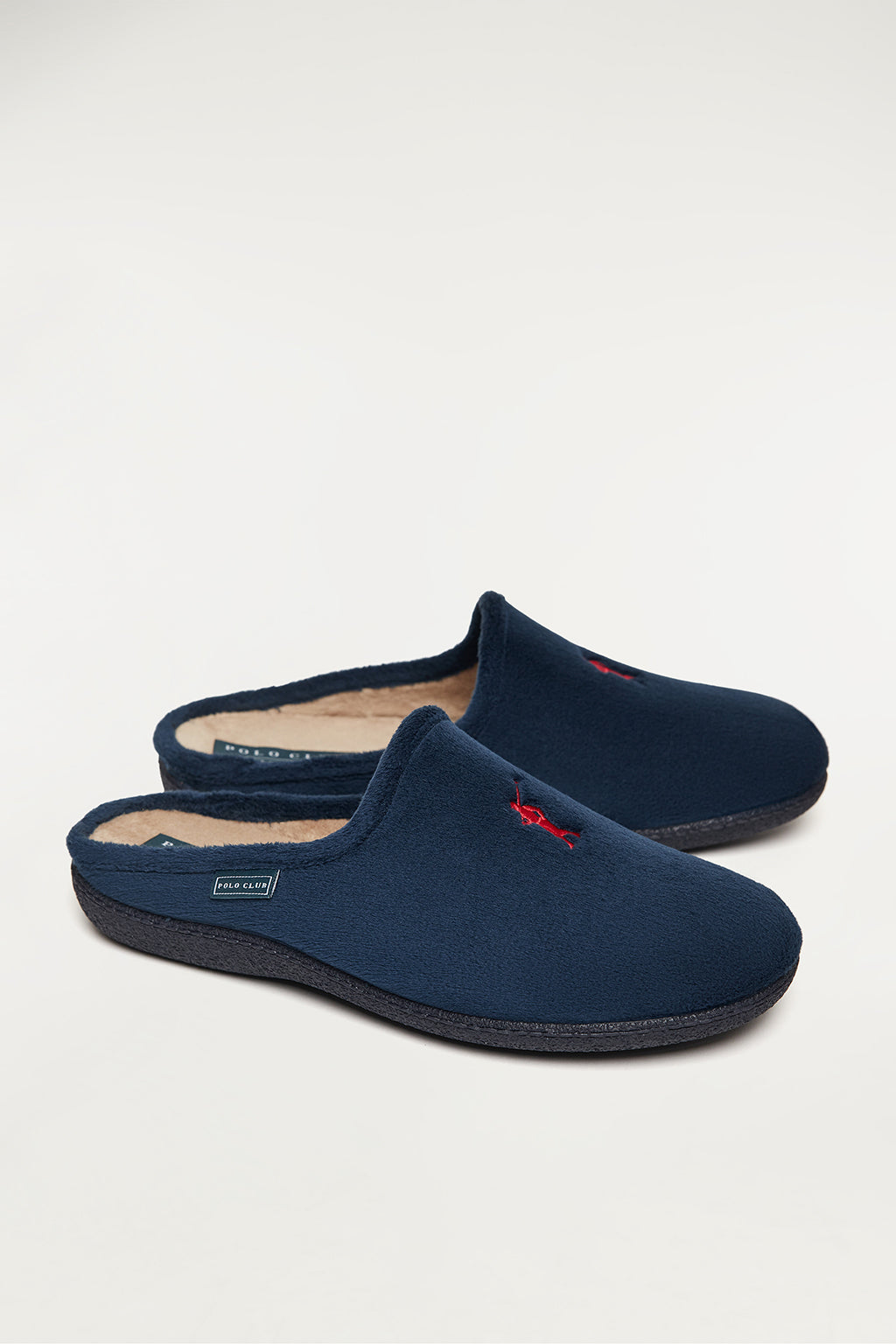 Navy blue sleepers with front embroidered logo in contrast colour