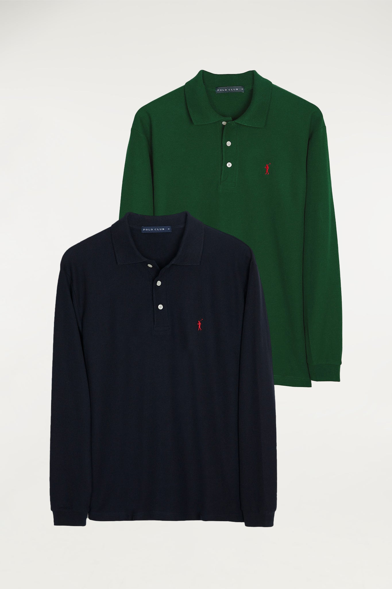 Long sleeve polo shirt two pack (navy blue and bottle green)