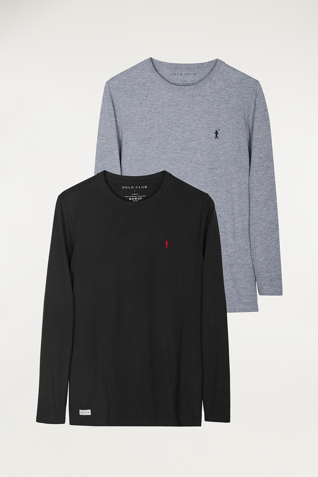 Long sleeve tee with embroidered logo two pack