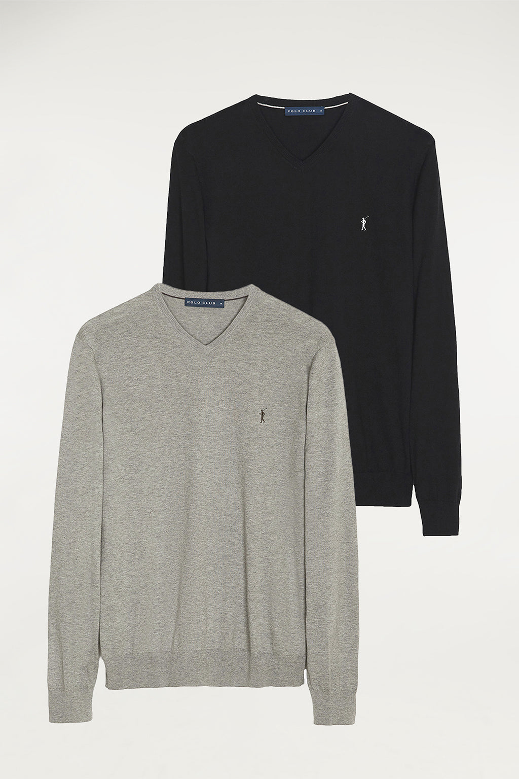 V-neck jumper two pack (black and grey vigore)