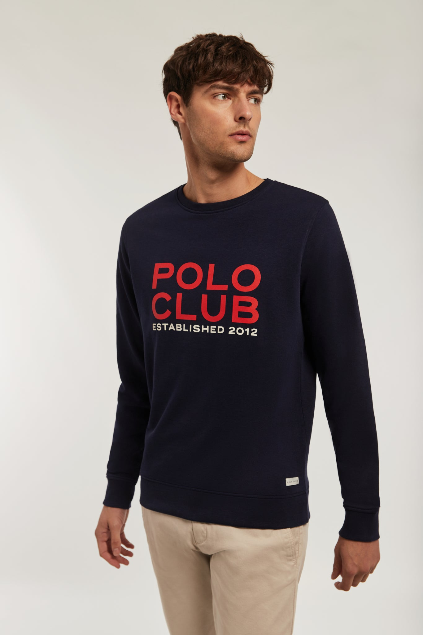 Navy blue sweatshirt with big bi-coloured front graphic print
