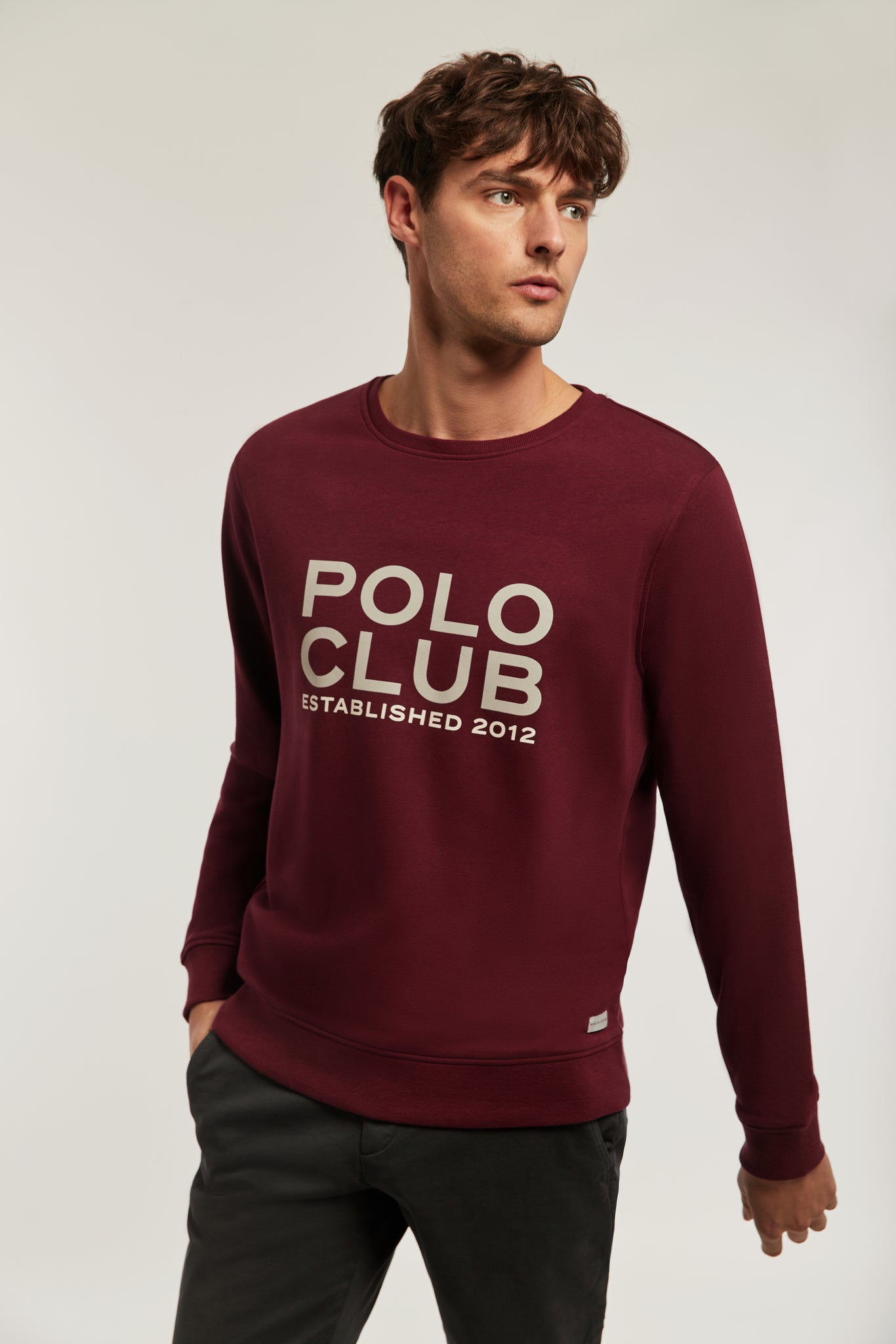Burgundy sweatshirt with big bi-coloured front graphic print
