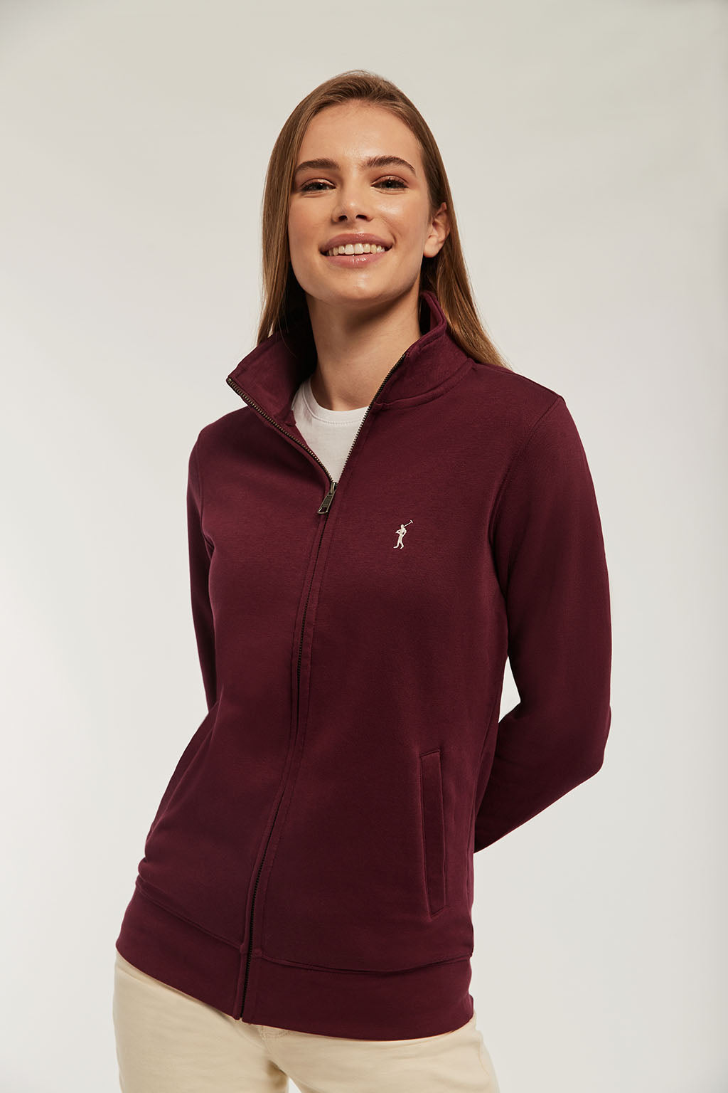 Burgundy zipped sweatshirt with embroidered logo
