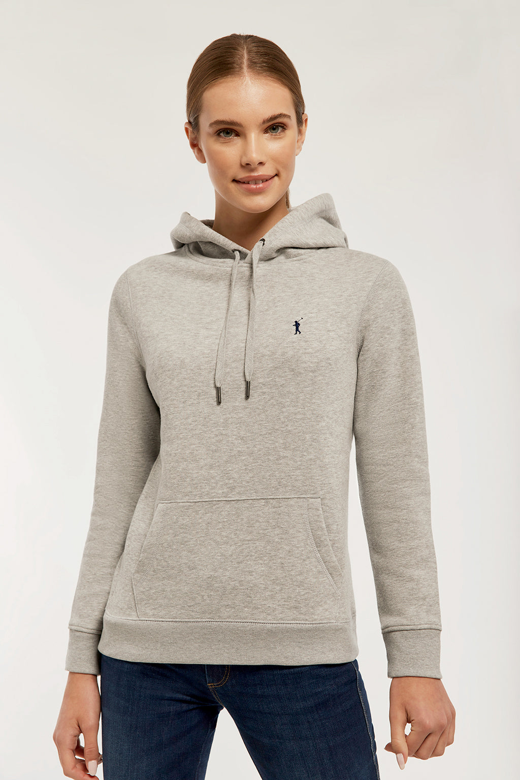 Grey vigore hoodie with embroidered logo