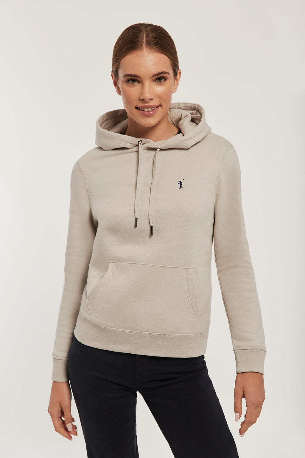 Grey hoodie with embroidered logo