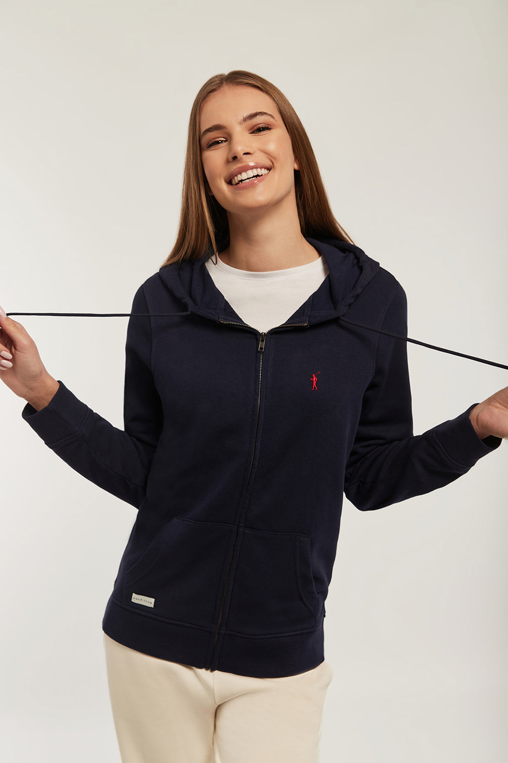 Navy-blue zipped organic sweatshirt with embroidered logo